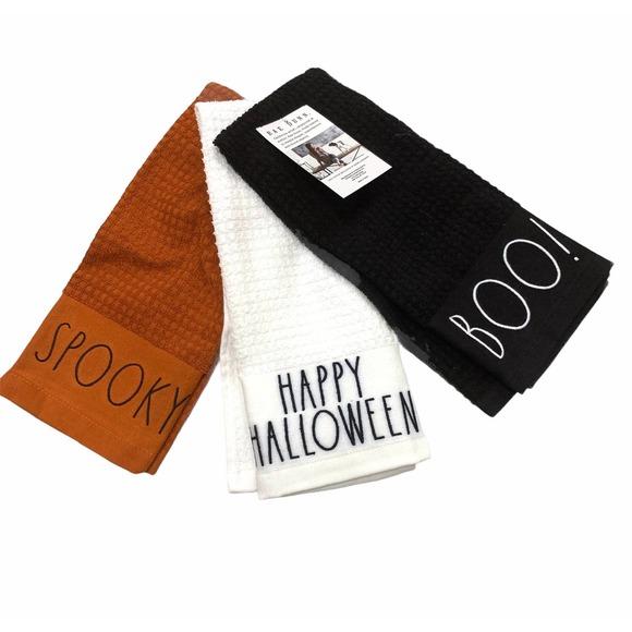 Rae Dunn Happy Halloween Spooky Boo Kitchen Towels
